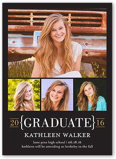 Graduation Announcements: Grad Bracket,  Announcement, Square Corners, Black