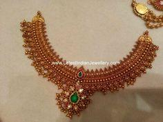 broad antique gold bridal necklace