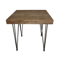 Accent your living room with chic natural style with this stunning end table.  Featuring a beautiful wood tabletop and smooth metal legs, it keeps your look rustic—but with a modern edge.  Find the Solid Pine End Table, as seen in the #Urban-Homestead Collection at http://dotandbo.com/collections/urban-homestead?utm_source=pinterest&utm_medium=organic&db_sku=90192