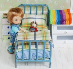 Metal Bed With Accessories For Dolls Quilt Handmade Patchwork Diorama for tiny doll like Irrealdoll, Lati Yellow, Pukiefee - https://www.etsy.com/listing/277148328/metal-bed-with-accessories-for-dolls?ref=shop_home_listings