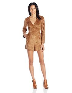 ASTR the label Women's Beatrice Faux Suede Long Sleeve V Neck Romper Camel X-Small