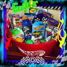 Hot wheels easter basket annie may pinterest easter baskets hot wheels easter basket i made with a decal made off etsy negle Images