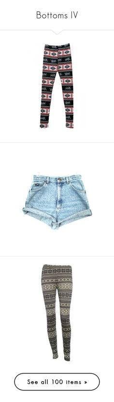 """""""Bottoms IV"""" by lithe-fae ❤ liked on Polyvore featuring pants, leggings, christmas pants, legging pants, christmas leggings, shorts, bottoms, short, high rise acid wash shorts and 80s short shorts"""