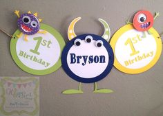 Monster Birthday Banner Happy Birthday Little by WhimsicalZeeParty