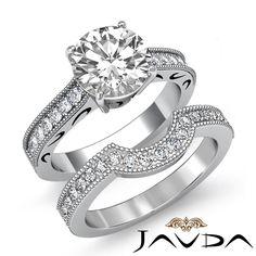 Round Diamond Milgrain Shank Bridal Set Engagement Ring EGL G VS1 Platinum 1 6ct | eBay
