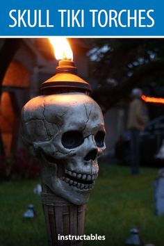 Skull Torches Tiki torch skulls will add just the right touch of lighting to your Halloween yard decorations. The Garden The Garden or The Gardens may refer to: Dollar Tree Halloween Decor, Halloween Yard Decorations, Halloween Party Decor, Holidays Halloween, Halloween Themes, Halloween Diy, Halloween Tricks, Hollween Decorations, Scary Halloween Yard