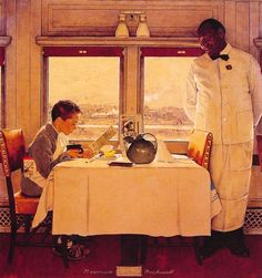 Boy in a Dining Car by Norman Rockwell (also like pleated tablecloth, could even lay another square on diagonal over top of it)