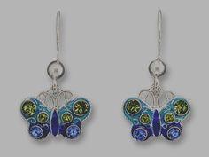 Original Zarah Crystal Butterfly Earrings - Enamel on Sterling Silver #Butterfly #DropDangle