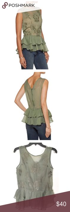 "HOST PICK Walter Baker Gabby Top Everyday Essentials HP by @erinctrent 4/3/17💕Walter Baker Gabby embroidered chiffon top.  Measures about 25"" length, 36"" bust, 33"" waist.  Fits true to size with a slightly loose fit.  Lightweight  non-stretch fabric, army green color, ruffled layer hem, back zip closure.  100% Polyester.  Hand wash or dry clean.  No trades. Walter Baker Tops Blouses"