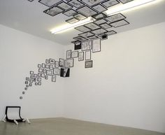 This looks strange, but a cool concept of frames climbing a wall. I guess you could frame scapbook paper or something.