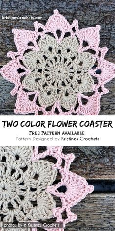 Two Color Crochet Flower Coaster Pattern Idea and Free video tutorial Gilet Crochet, Crochet Motif, Crochet Designs, Crochet Doilies, Free Crochet, Hat Crochet, Diy Crochet Flowers, Crochet Flower Squares, Crochet Crafts
