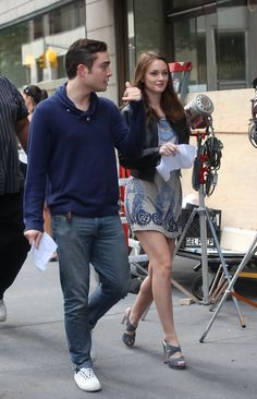 Leighton Meester Ed Westwick Photos: Ed Westwick and Leighton Meester Walk to Set