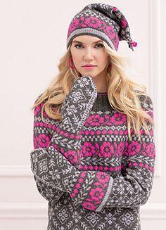 Ravelry: Three-piece Rose Pattern Set pattern by Deborah Newton Vogue Knitting, Autumn Fashion 2018, Fair Isle Knitting, Slouchy Hat, Pattern Library, Stockinette, Christmas Knitting, Mittens, Knitting Patterns
