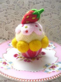 needle felted Strawberry cupcake pincushion by loopy lou designs, via Flickr