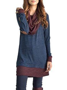 KUFV Womens Vintage Drape Scarf Neck Patchwork Long Sleeve Tunic