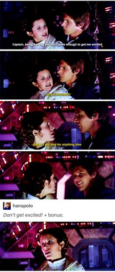 "She's like, ""Focus Leia, stop thinking about the d"" //Star Wars, Han Solo, Leia Organa, Princess Leia, Princess Organa, Princess Leia Organa, General Leia, General Organa, General Leia Organa, sorgana"