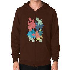 Geometric colored hexagon cluster art Zip Hoodie (on man)