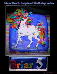Unicorn-Lisa Frank inspired birthday cakr by: I'll Cake That!