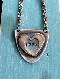 Love Mixed Metal Soldered Heart Spoon Pendant from by GirlRanAway