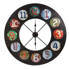 antique retro colourful wall clock x large from earth homewares