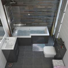 Interior Decor Quiz L shape shower bath suite with luxury bath screen and acrylic L shape bath panel perfect for any bathroom suite Bathroom Design Small, Bathroom Interior Design, Modern Bathroom, Small Bathroom With Bath, Small Bathroom Suites, Small Grey Bathrooms, Bathroom Grey, Bathroom Mirrors, Family Bathroom