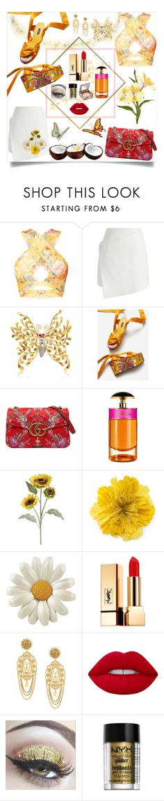 """""""Good vibes at Santorini"""" by roxy-elly22 ❤ liked on Polyvore featuring Chicwish, McTeigue & McClelland, MANGO, Gucci, Prada, Pier 1 Imports, Yves Saint Laurent, Dolce&Gabbana, Lime Crime and NYX"""