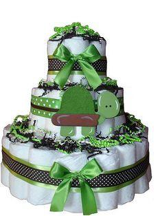 Turtle Diaper Cake @Annie Compean Compean Compean Watson good boy cake idea....