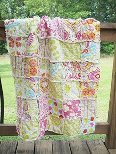 Image detail for -Crib Rag Quilt, Kumari Garden in pink-Quilts baby rag quilt crib size ...