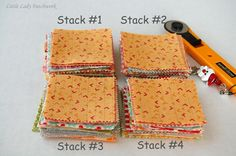 Little Lady Patchwork: A TIP FOR MAKING SCRAPPY PRECUT QUILTS {MY LITTLE SECRET} How to stack precursor for scrappy look