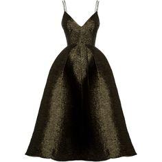 Reid Lurex Bikini Pleat Midi | Moda Operandi ($1,680) ❤ liked on Polyvore featuring dresses, brown midi dress, flared dresses, v neck dress, calf length dresses and flare cocktail dress