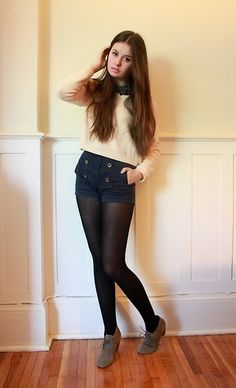 One way to wear black tights Cute Girl Outfits, Dance Outfits, Outfits For Teens, Sexy Outfits, Fashion Outfits, Black Tights Outfit, Shorts With Tights, Pantyhose Outfits, Nylons