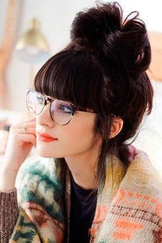 casual hairstyles for gals with bangs | fringe hairstyles | high bun