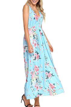 Chic Aqua Multi Floral Pattern Sleeveless Maxi Dress d2843b9d7