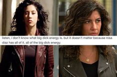 My bi ass: in love with both, plus the entire cast of brooklyn nine-nine Rosa Diaz, Brooklyn Nine Nine Funny, Jane The Virgin, Funny Relatable Memes, Tumblr Posts, Funny Moments, Movies And Tv Shows, Ariana Grande, In The Heights