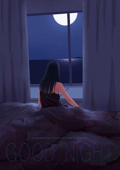 Anime Scenery, Moon Art, Anime Art Girl, Aesthetic Art, Aesthetic Wallpapers, Cute Art, Good Night, Wallpaper Backgrounds, Fantasy Art
