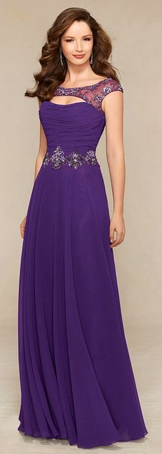 Elegant Chiffon Bateau Neckline Floor-length A-line Mother of the Bride Dresses with Rhinestones