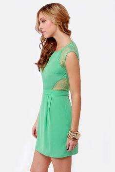 (Too Dark?)    Pretty Seafoam Green Dress - Lace Dress - Cutout Dress - $43.00