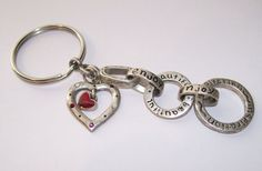 Silvertone Heart Keychain Engraved Silvertone by NonisEclecticShop, $9.50