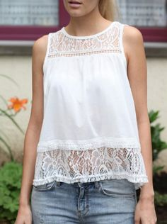 Trendy Round Collar Lace Spliced Chiffon Women's Tank Top