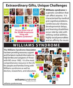 Let's tell the world about Williams syndrome! Help spread awareness by sharing this image with everyone you know - and those you don't!  To learn more about Williams syndrome, please visit: http://williams-syndrome.org/ws
