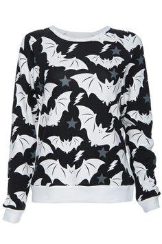 ROMWE | ROMWE White Bat Print Black Long-sleeved Sweatshirt, The Latest Street Fashion