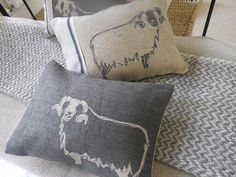 hand printed charcoal sheep cushion by helkatdesign