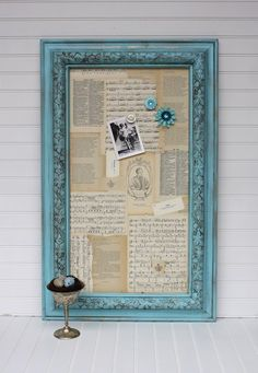 Pretty picture frame and patterened background used for a magnet board or a dry-erase board. This would be nice in my kitchen with my Grandma's old handwritten recipe cards.