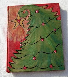 book art, A Christmas Carol, Charles Dickens, vintage book, re-purposed book, Christmas tree painting, Christmas art, one of a kind painting