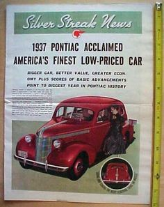 1937 Pontiac Automobile Brochure Silver Streak News