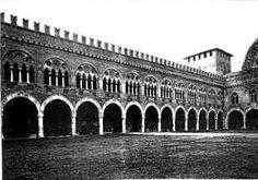Fronte interna del Castello di Pavia nella versione originaria di Galeazzo II