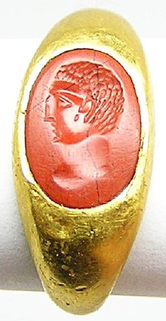 his is a fabulous ancient Roman gold intaglio ring, dating to 69 A.D. The ring is set with its original red jasper intaglio, depicting the head of emperor Otho. The cutting is classic mid 1st century A.D., with Celtic features, especially the eyes. The gem is likely provincial British or Gallic workmanship, catering for the military, or Romanized Celtic elite of the newly conquered Province.