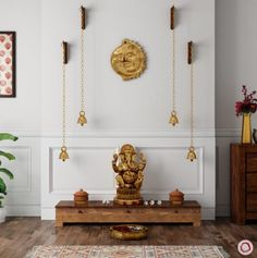 mandir designs Temple Room, Home Temple, Wooden Temple For Home, Indian Interior Design, Home Interior, Interior Designing, Interior Ideas, Temple Design For Home, Mandir Design