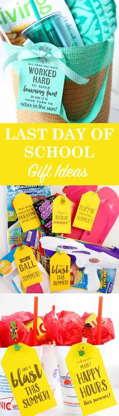 You're off to a Happy Summer with Last Day of School Gifts & Ideas The best gift ideas for the end of school! Easy ideas for your kids, teachers, and grads. Use the free printable tags to pair with your gift for a simple handmade gift idea. Best Teacher Gifts, Best Gifts, Wish Kids, Punch, School Gifts, Student Gifts, School Parties, Teacher Appreciation Week, Last Day Of School