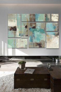 Teal & Aqua Reflections Panel Sectional Wall Art